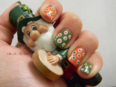 Polka Irish Nails (unghie irlandesi a pois) - St. Patrick's Day Nail Art Tutorial NOTD