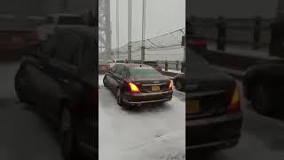 Massive car crash for the weather conditions in NYC, NJ George Washington Bridge ! 11/15/2018