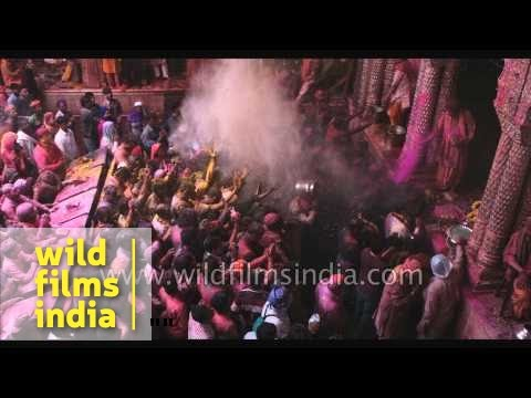 Holi at Banke Bihari Temple in Vrindavan : 4K slow motion pageant!