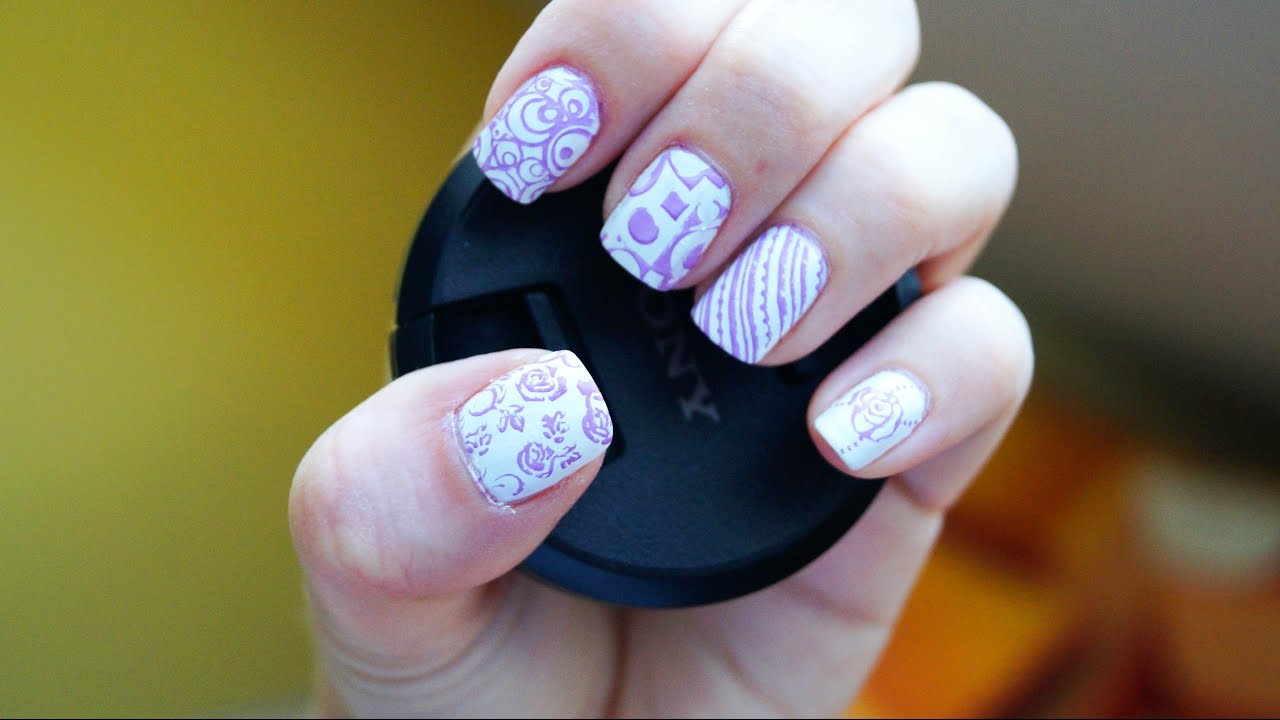 Nail art stamping short nails - KONAD dupe plate #m65 test with ...