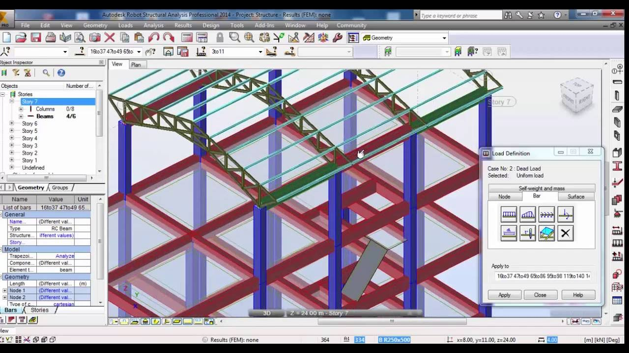 Autodesk Robot Structural Analysis Reinforced Concrete Building With Steel Truss 02 Youtube