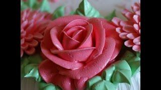 Кремовая роза. насадка 123 - 'изогнутая роза'. cream rose . Wilton Number 123