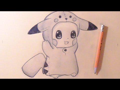 Como Dibujar Chibi Pikachu Bebe Con Gorro De Pikachu How To Draw