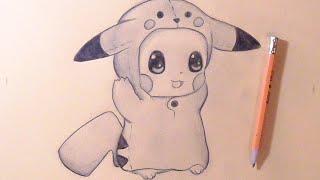 Cómo dibujar Chibi Pikachu Bebé con Gorro de Pikachu | How to draw Cute Pikachu Baby