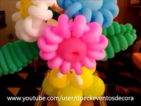 Arreglo De Flores Margaritas Hecho Con Globos Globoflexia Youtube