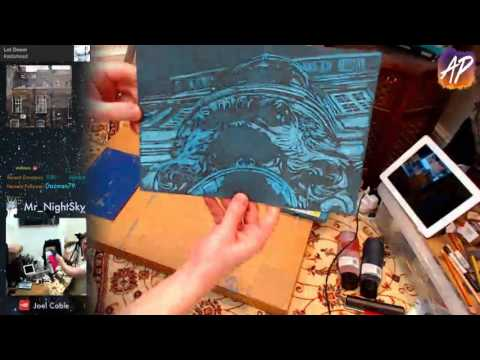 Linocut printing and hand colouring - art #painting #drawing #illustration #allaprima