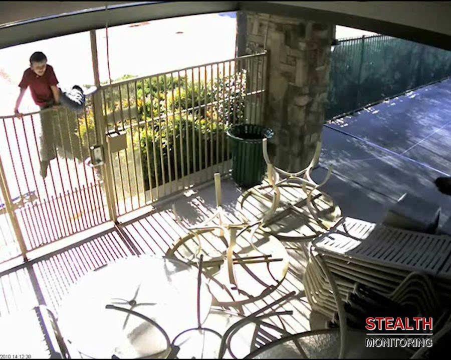 Speaker warning stops kid climbing apartment pool fence - Apartment Security