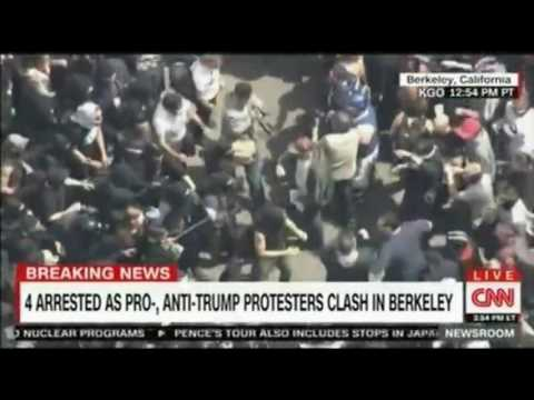 Arrests as Pro and Anti Trump protesters clash at Berkeley University California