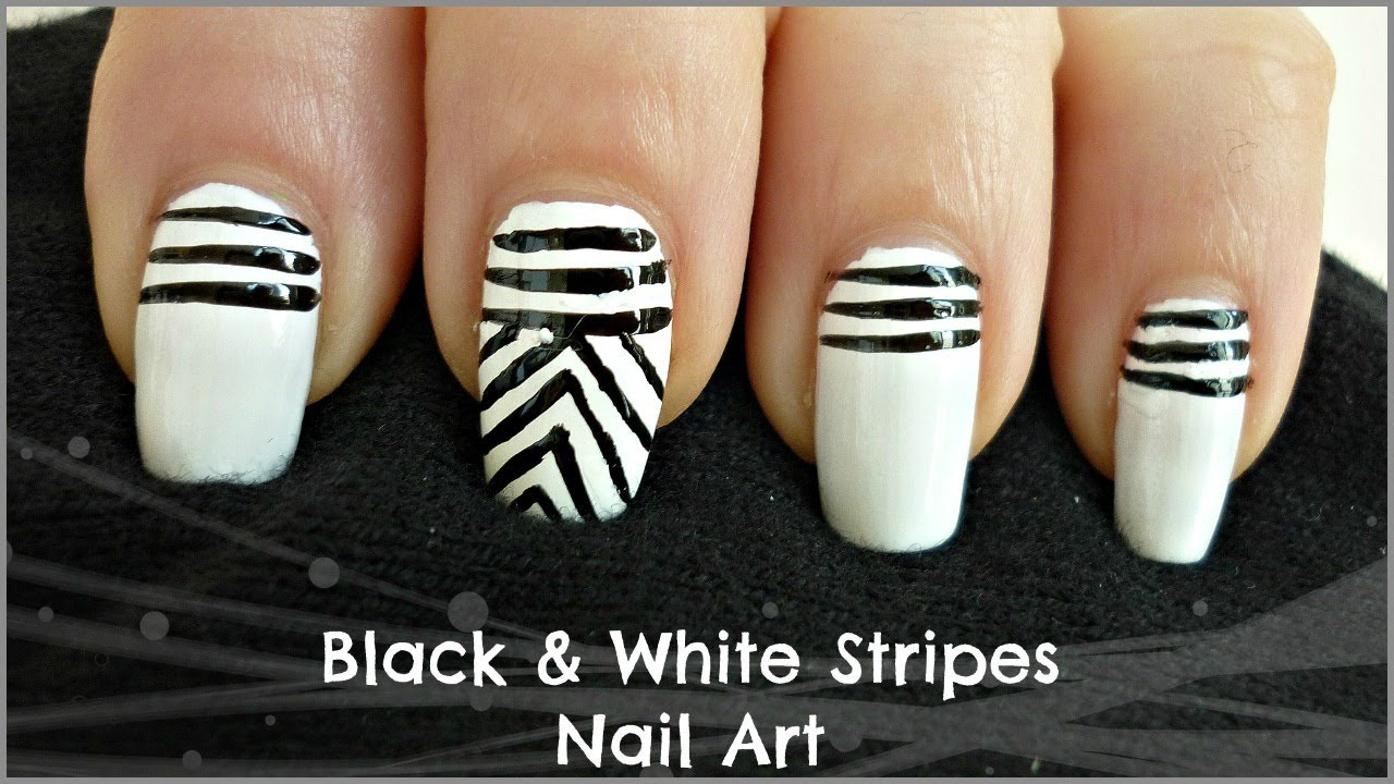 easy black and white stripes nail