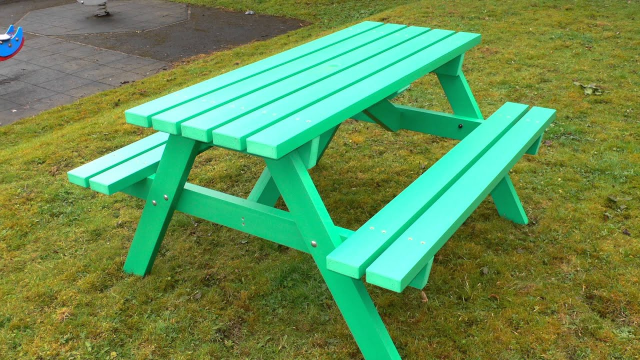 Recycled Plastic Picnic Table By Kedel Derwent Range YouTube - Teal picnic table
