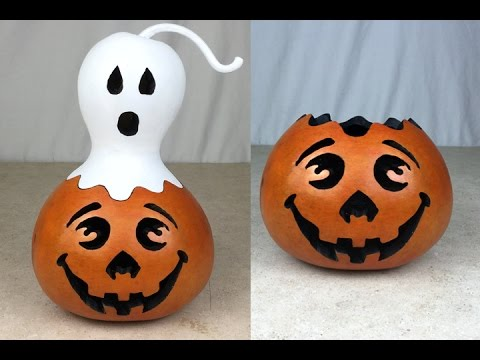 Creating A Gourd Jack O Lantern And Ghost Youtube