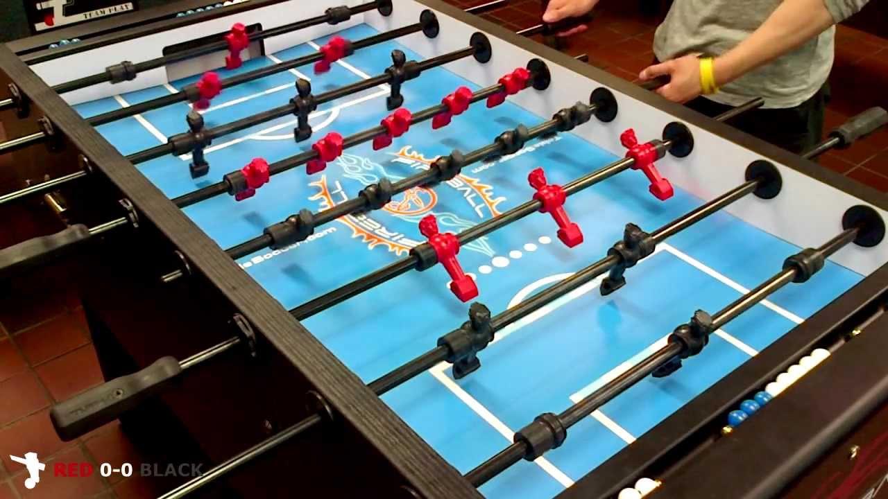 HD Fireball Foosball Singles Match Kelvin Red Vs Jago Black - Fireball foosball table
