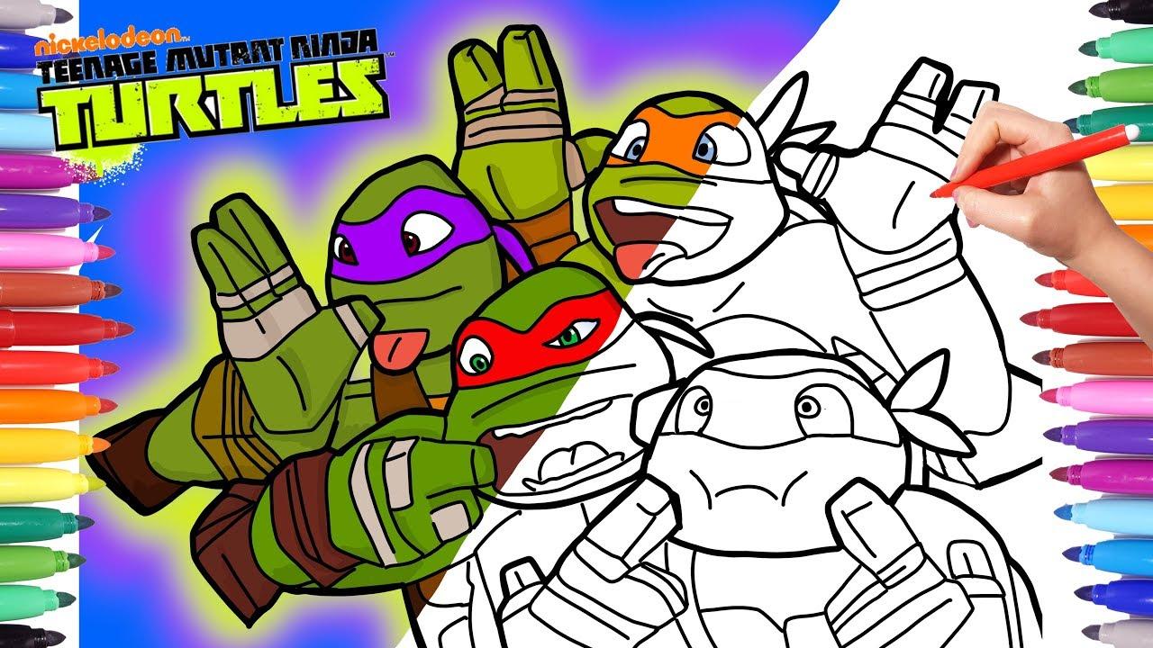 Ninja Turtles Coloring Pages How To Draw Tmnt Michelangelo Donatello Leonardo Raphael Coloring Youtube