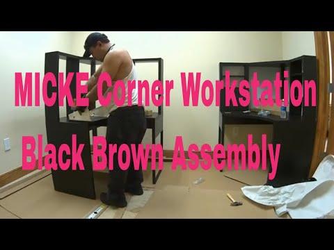 MICKE Corner workstation Black brown Assembly