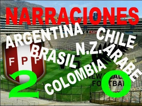 2 - 0 PERÚ vs NZ | NARRACIONES ARGENTINA, CHILE, COLOMBIA, NUEVA ZELANDA, BRASIL, ARABE