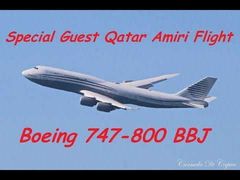 Special Guest Qatar Amiri Flight Boeing 747-800 BBJ At Rome Fiumcino