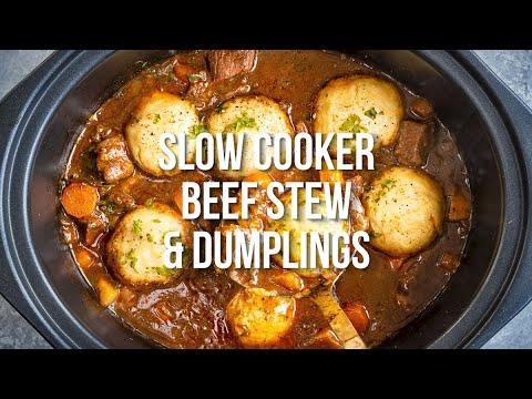 Slow Cooker Beef Stew And Dumplings Supergolden Bakes Youtube