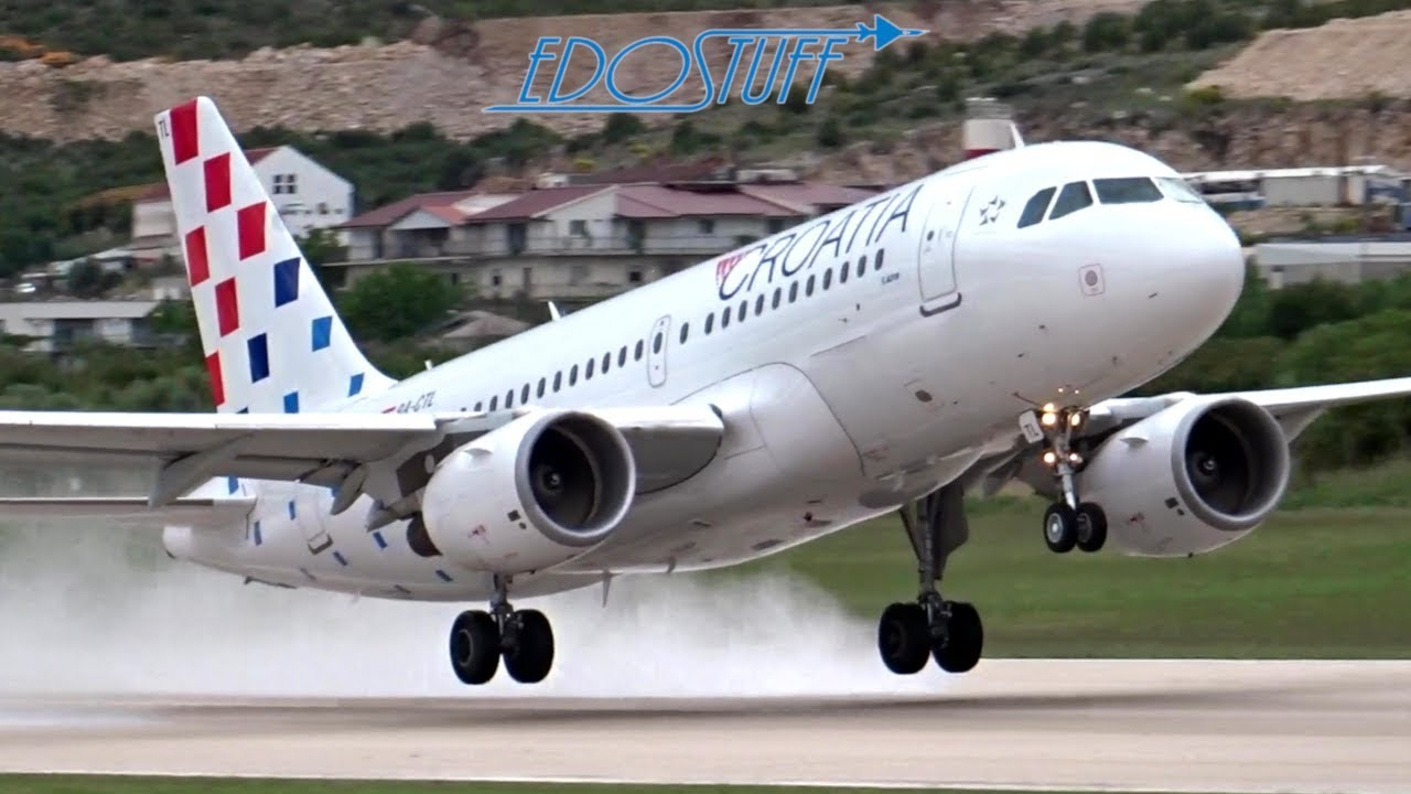 Croatia Airlines New Livery Airbus A319 Wet Takeoff Split Airport Spu Ldsp Youtube