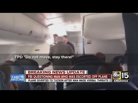 FBI questions man escorted off plane that was diverted to Tucson