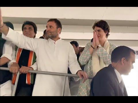Priyanka Gandhi's mega Lucknow roadshow; brother Rahul  Gandhi by her side