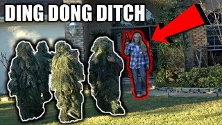 DING DONG DITCH IN GHILLIE SUITS PRANK!! (what happened will blow your mind) thumbnail