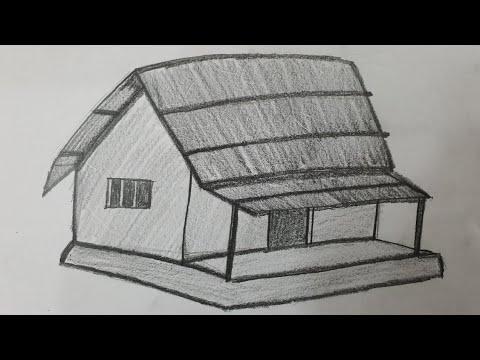Cách vẽ ngôi nhà thôn quê bằng bút chì – How to Draw Village Hut with pencil l Kim Chi Art & Draw