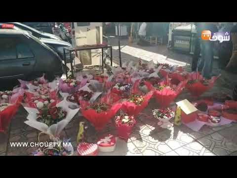 مباشرة من مراكش : شوفو الإقبال الكبير على اقتناء الورود يوم عيد الحب بسوق الورد