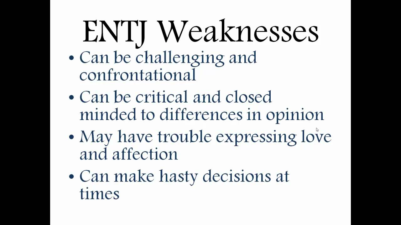 Entj weaknesses