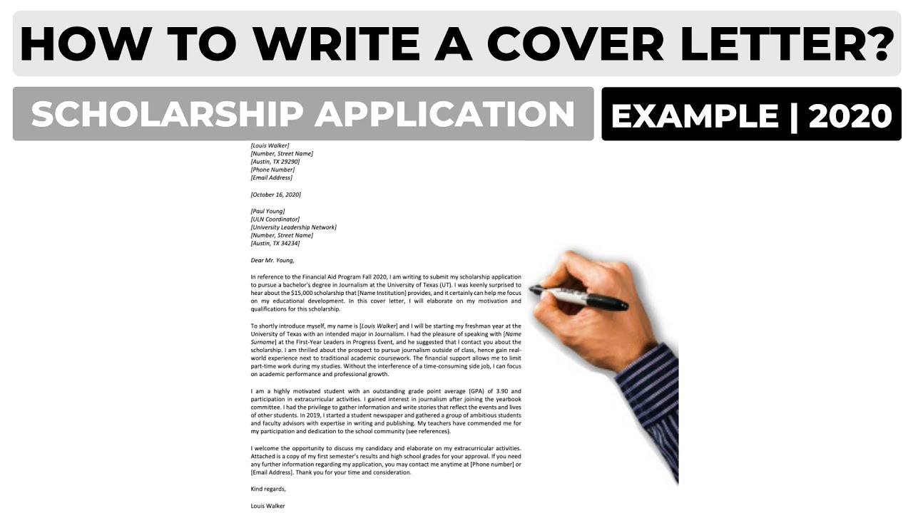 How To Write A Cover Letter For A Scholarship Application Example Youtube