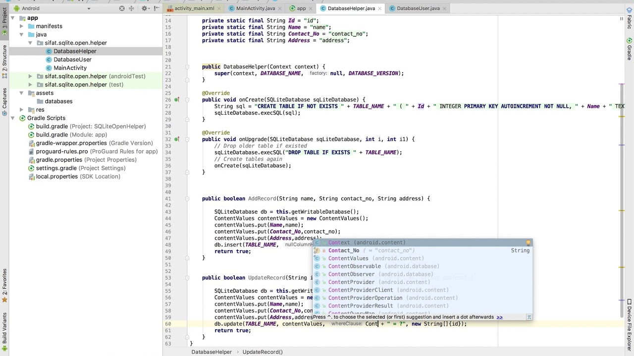 Android Sqlite Part 2, Add Update Count Record functions in dbhelper class