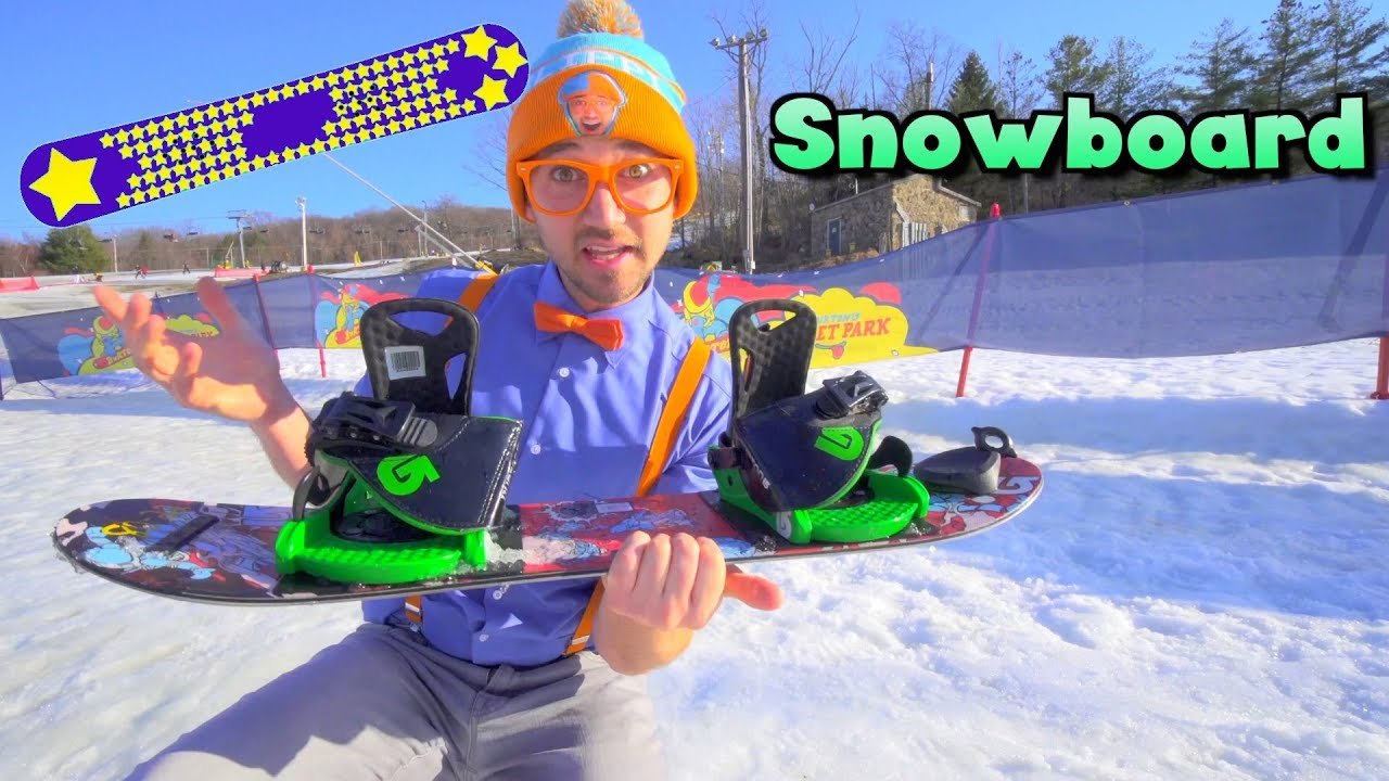 [VIDEO] - Blippi Learns How to Snowboard | Winter Outdoor Activities for Children 1