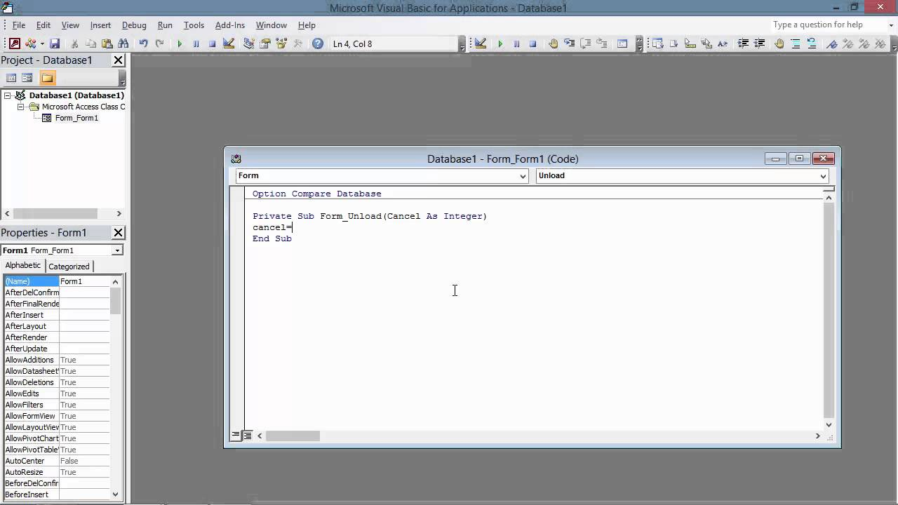 Access 2010 Stop Form from Closing Macro And VBA - YouTube