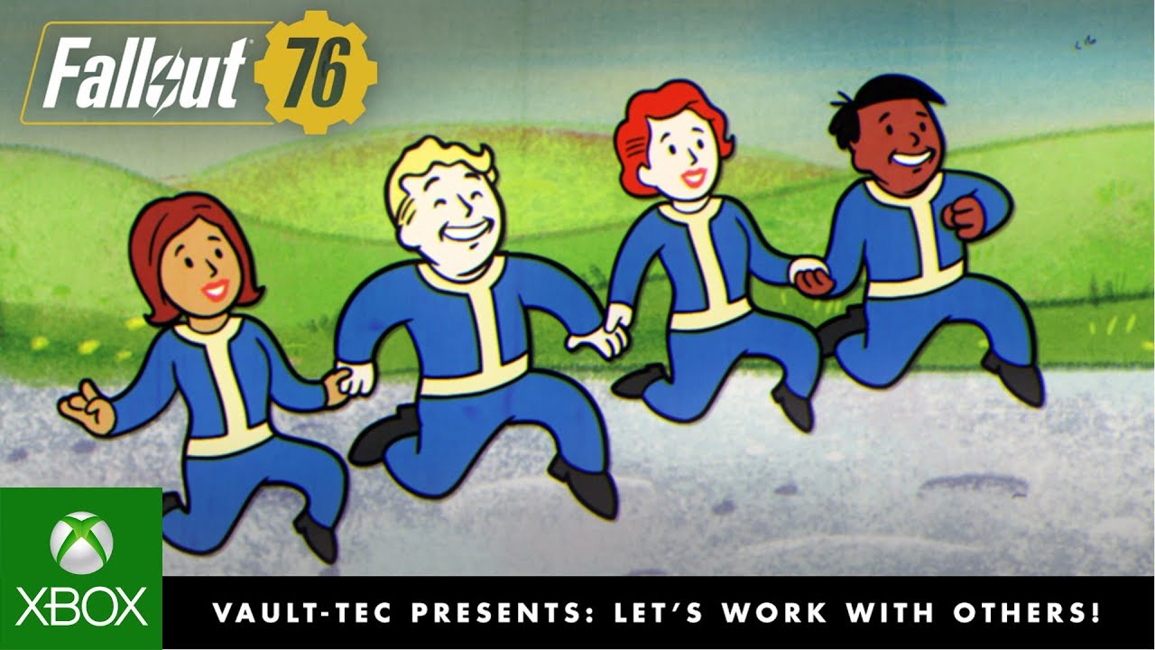 "Fallout 76 – Vault-Tec Presents: Let's Work with Others! Multiplayer Video - You Will Emerge! Brought to you by the Vault-Tec American Tricentennial Committee. Today's episode, ""Let's Work with Others: The Art of Cooperation""."