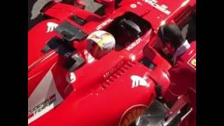 F1 2017   Barcelona Test 2, Day 1 - Sebastian Vettel is wheeled back into the Ferrari garage