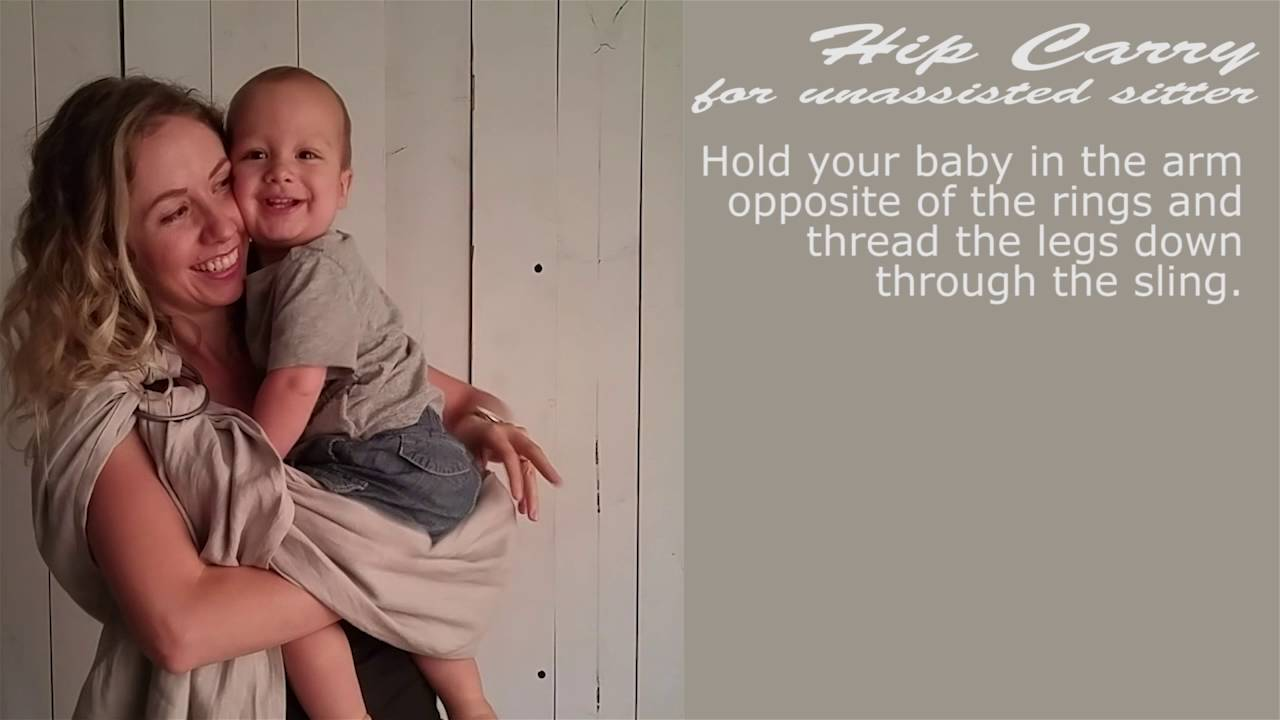 b4c859ec42e Ring Sling Hip Carry (for unassisted sitters) - YouTube