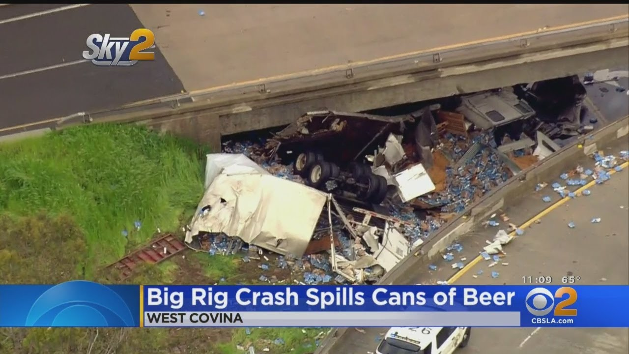 Semi Carrying Large Load Of Beer Overturns In West Covina, Spills Load