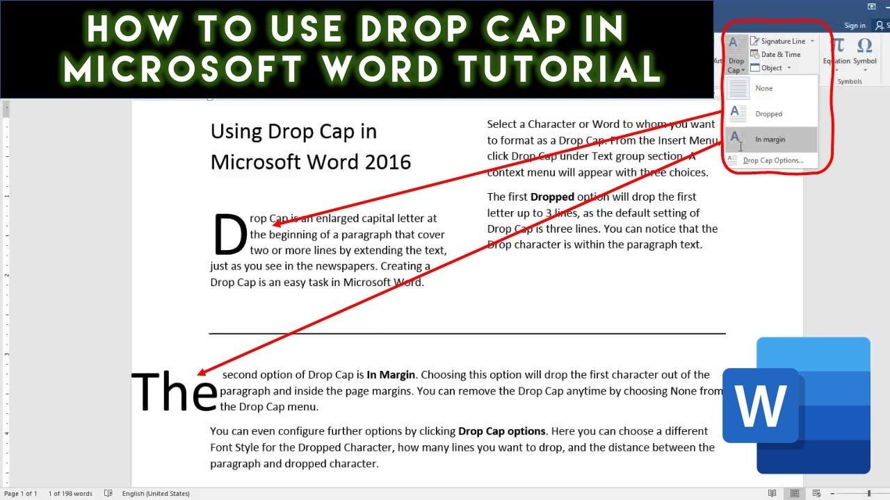 how to insert drop cap in microsoft word 2016 tutorial the teacher youtube