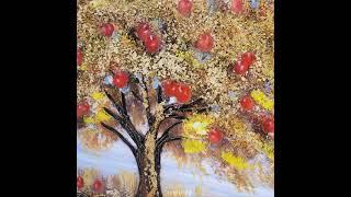황금나무 사과열매 유화그림액자 분위기있는 거실액자 개업…