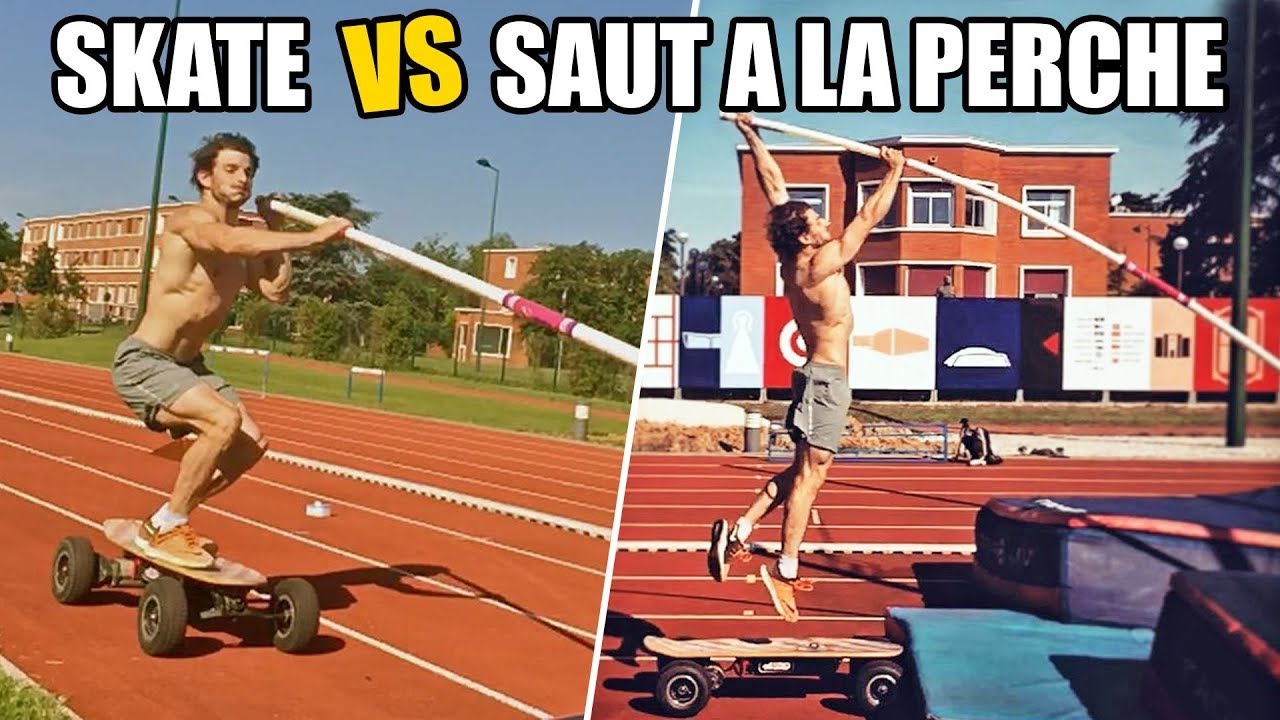 DEFI : SKATE ELECTRIQUE vs SAUT A LA PERCHE ! (feat. Baptiste Boirie & Lotfi Lamaali)