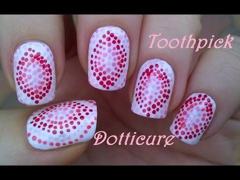 toothpick nail art #1 diy pink