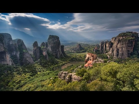 Meteora, Μετέωρα, the heavens above,  Eastern Orthodox monasteries  in Greece on  rock pinnacles