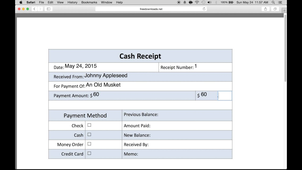 how to write a receipt for money received