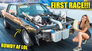 MIMI's FIRST RACE with NEW TWIN TURBO JUNKYARD 6.0L ENGINE! *Scary Launches*