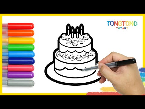 Art Ideas For Kids Happy Birthday Cake Drawing  Painting Coloring Pages