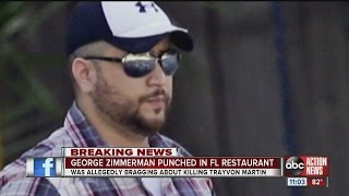 Zimmerman hit in face after talking about killing Trayvon Martin in restaurant, per reports