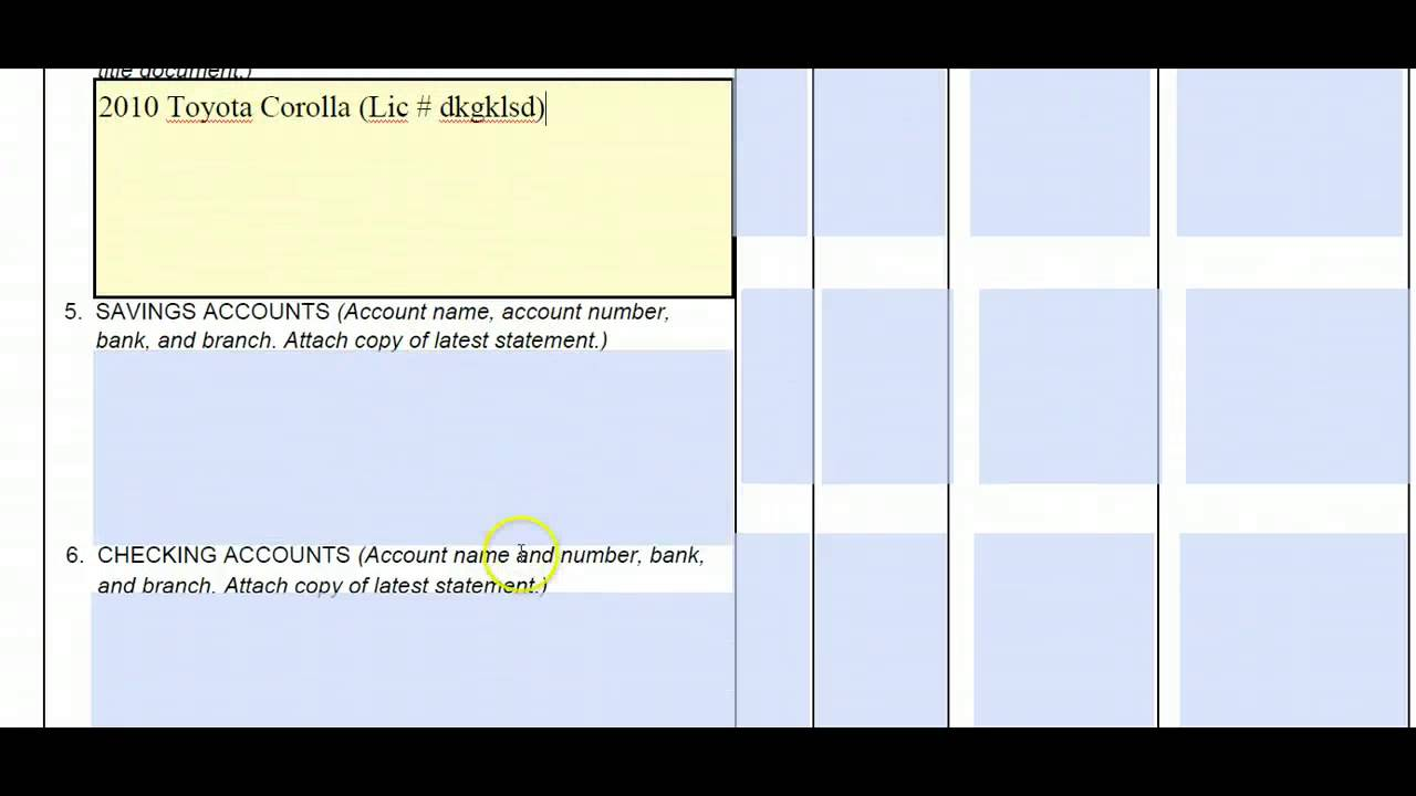 Completing Schedule Of Assets And Debts | California Divorce Form ...
