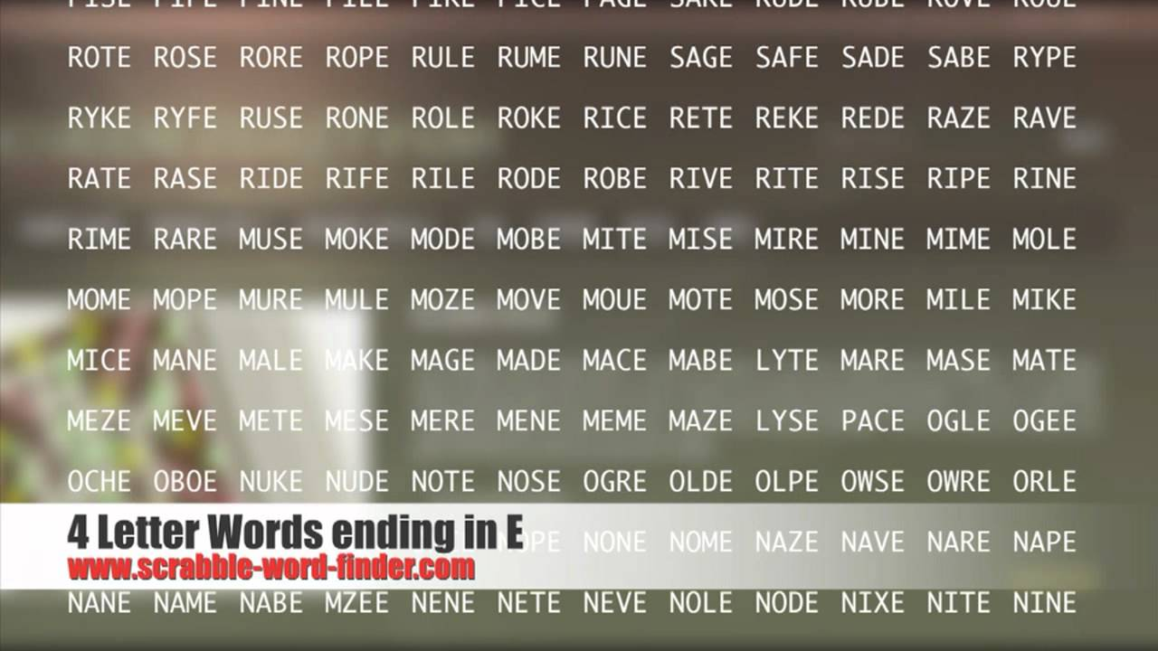 4 letter words ending in E   YouTube