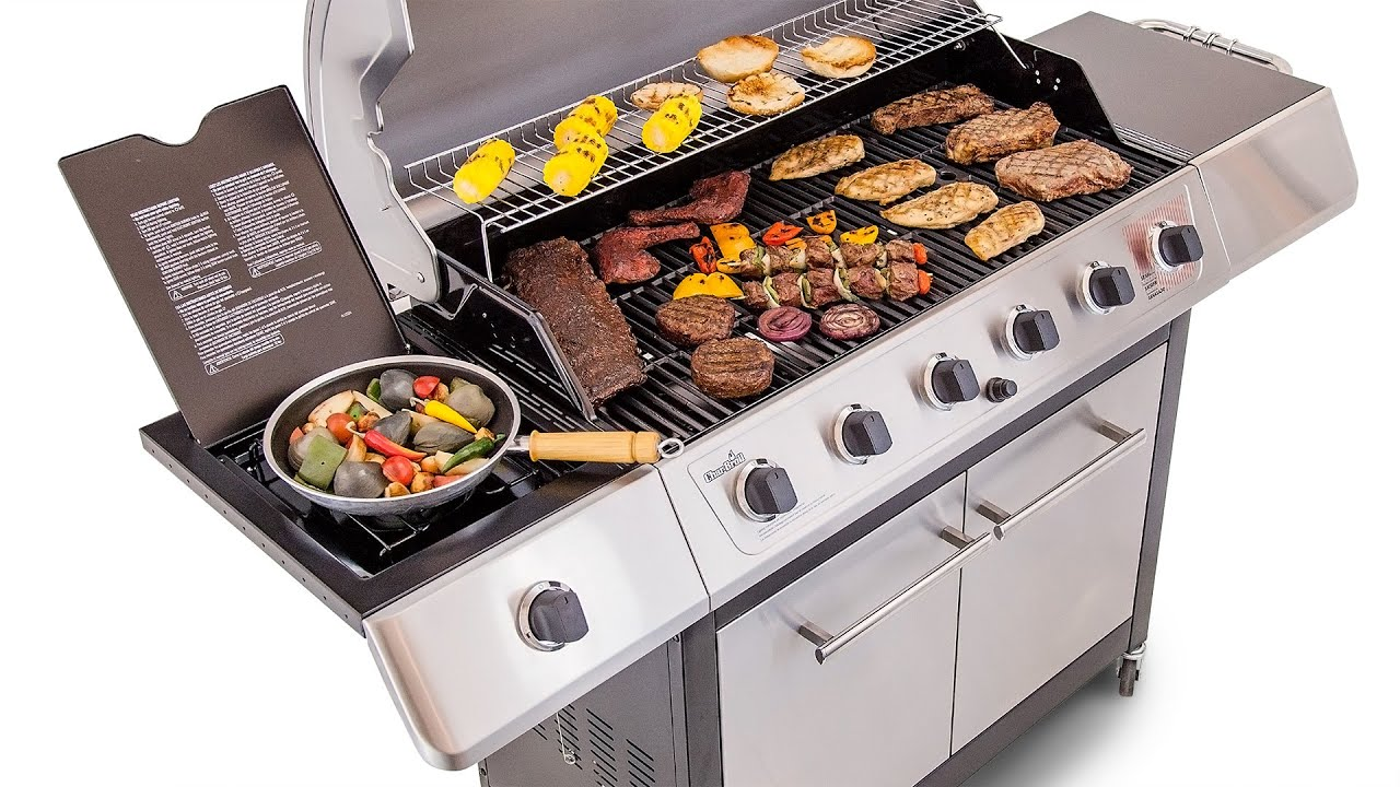 Char Broil 6 Burner Gas Grill Stainless Steel Lid