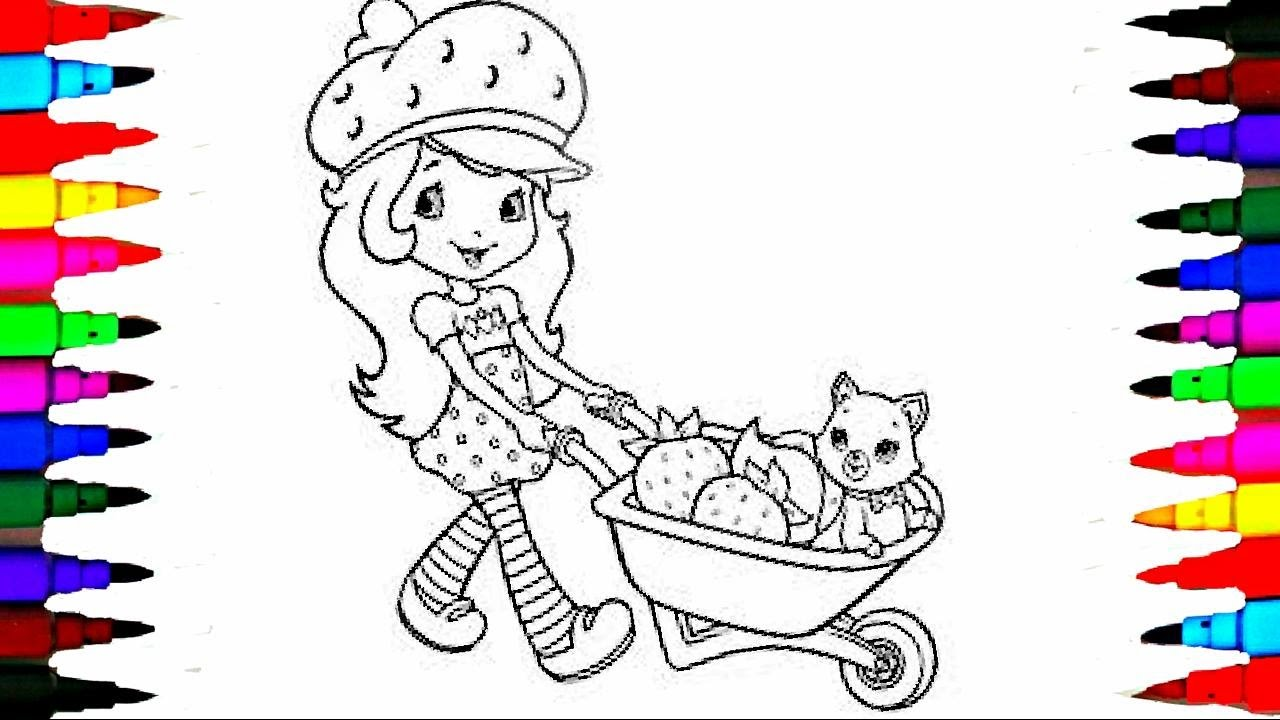 Coloring Pages Strawberry Shortcake And Pet On Wheelbarrow Book Videos For Children