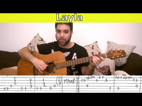 Fingerstyle Tutorial: Layla - Guitar Lesson w/ TAB